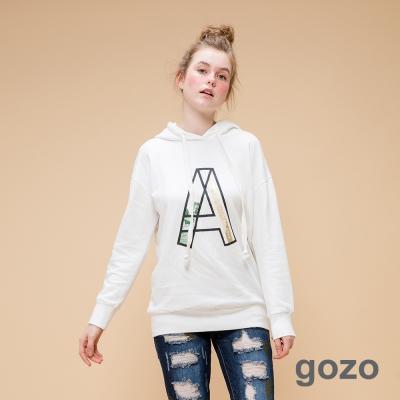 gozo網路獨家-潮流女孩必備寬鬆長版帽T白色