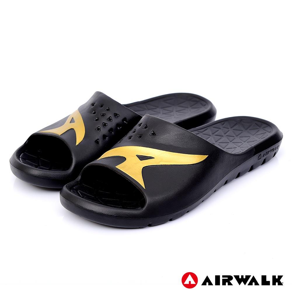 【AIRWALK】舒適柔軟輕盈AirJump拖鞋-黑金