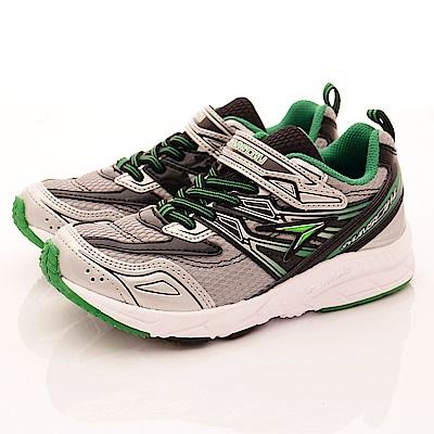日本瞬足羽量競速童鞋 3E彈力款 2151SL黑綠白(中大童段)T2