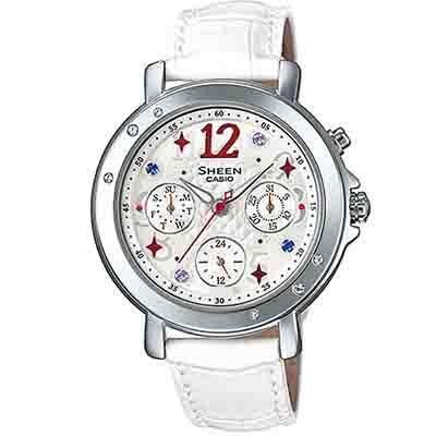 SHEEN 華麗繽紛霓虹少女皮帶腕錶(SHE-3033L-7A2)-白/37.4mm