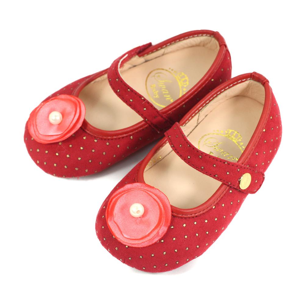 Swan天鵝童鞋-花朵金色圓點寶寶學步鞋1559-紅