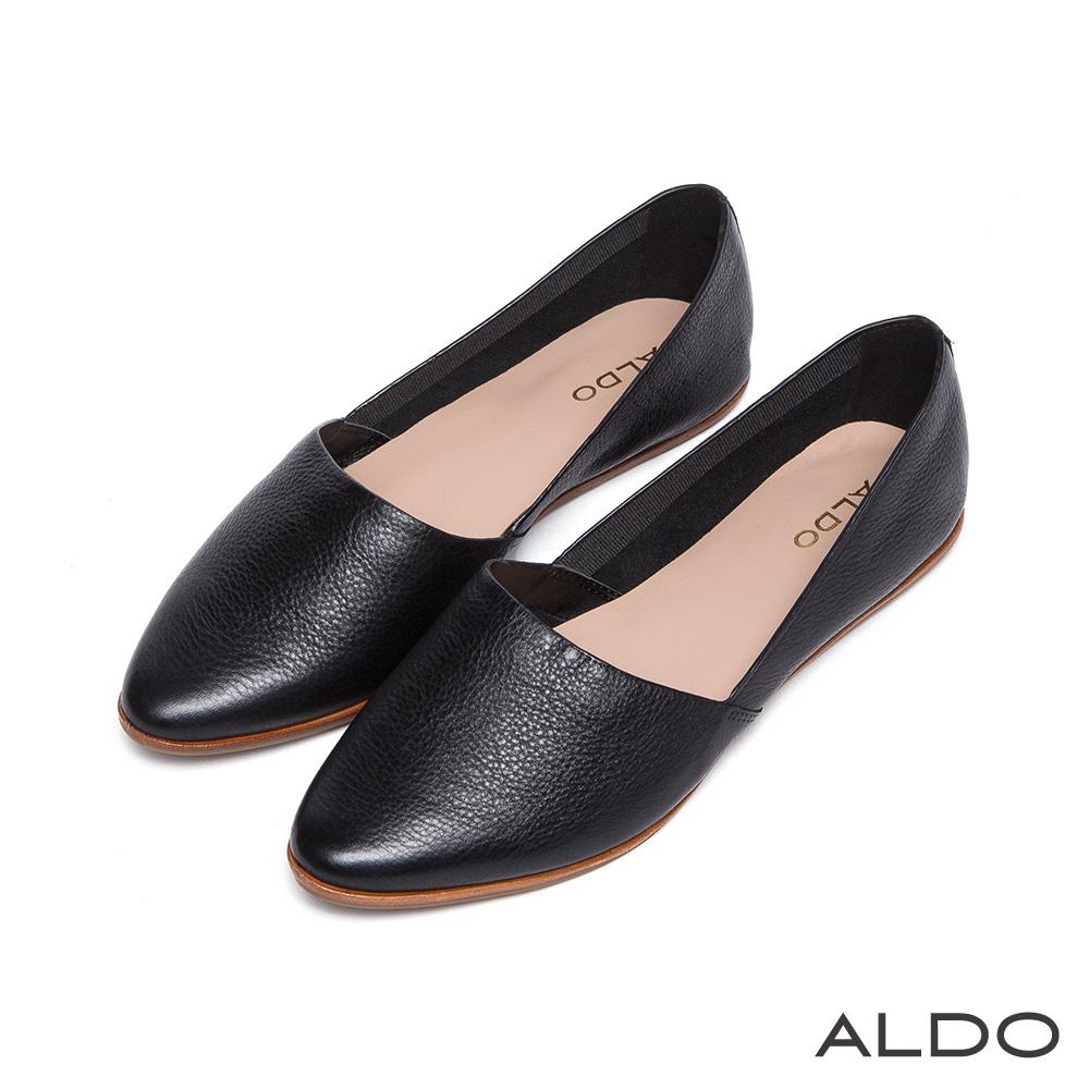 ALDO 原色真皮皮革鞋面尖頭休閒鞋~尊爵黑色
