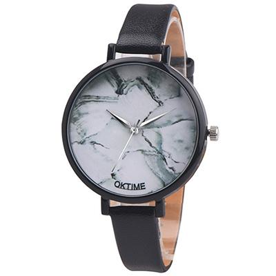 Watch- 123  江南人家-無秒針大理石面山水風手錶-黑色/ 37 mm
