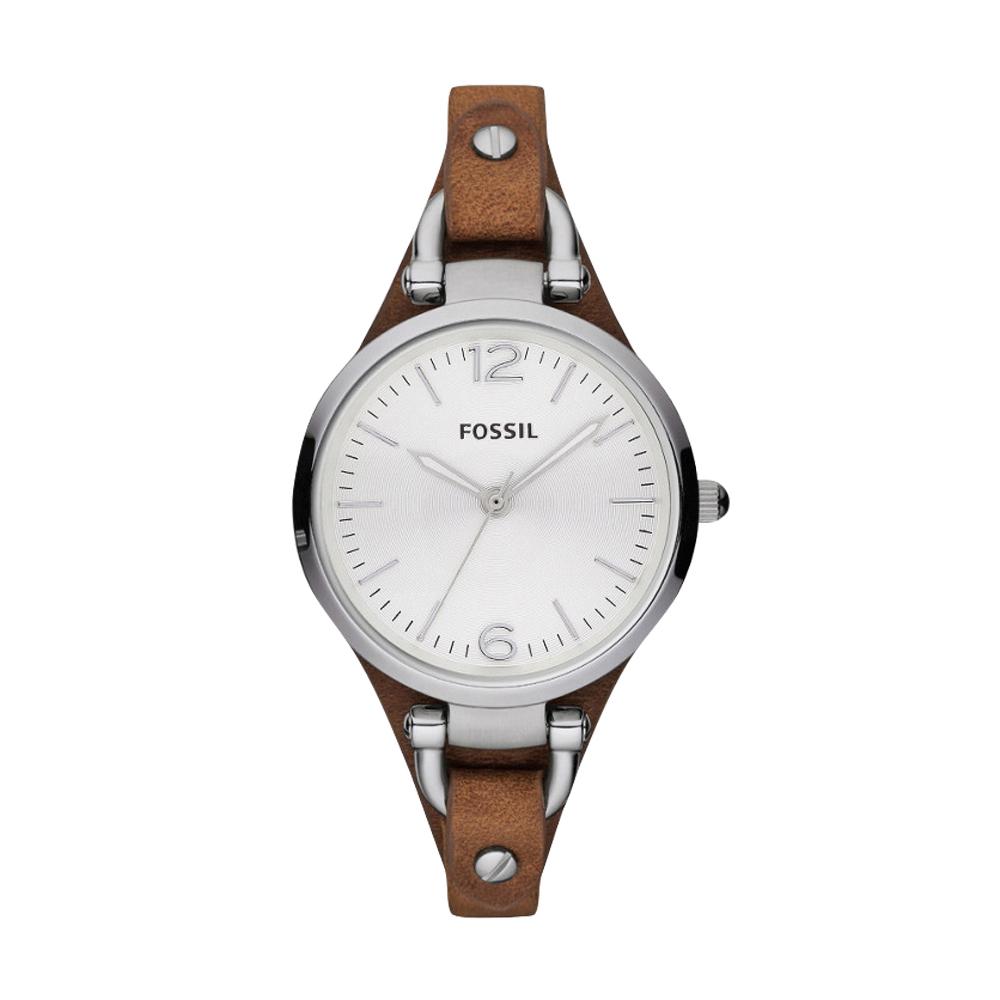 FOSSIL 俏皮女孩時尚腕錶-銀/咖啡/32mm