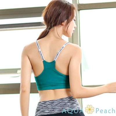 運動內衣 字母肩帶抽褶設計內衣 (綠色)-AQUA Peach