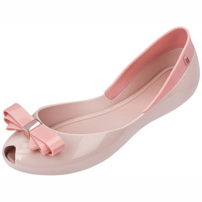 MELISSA 蝴蝶結雙色魚口鞋-粉/粉紅