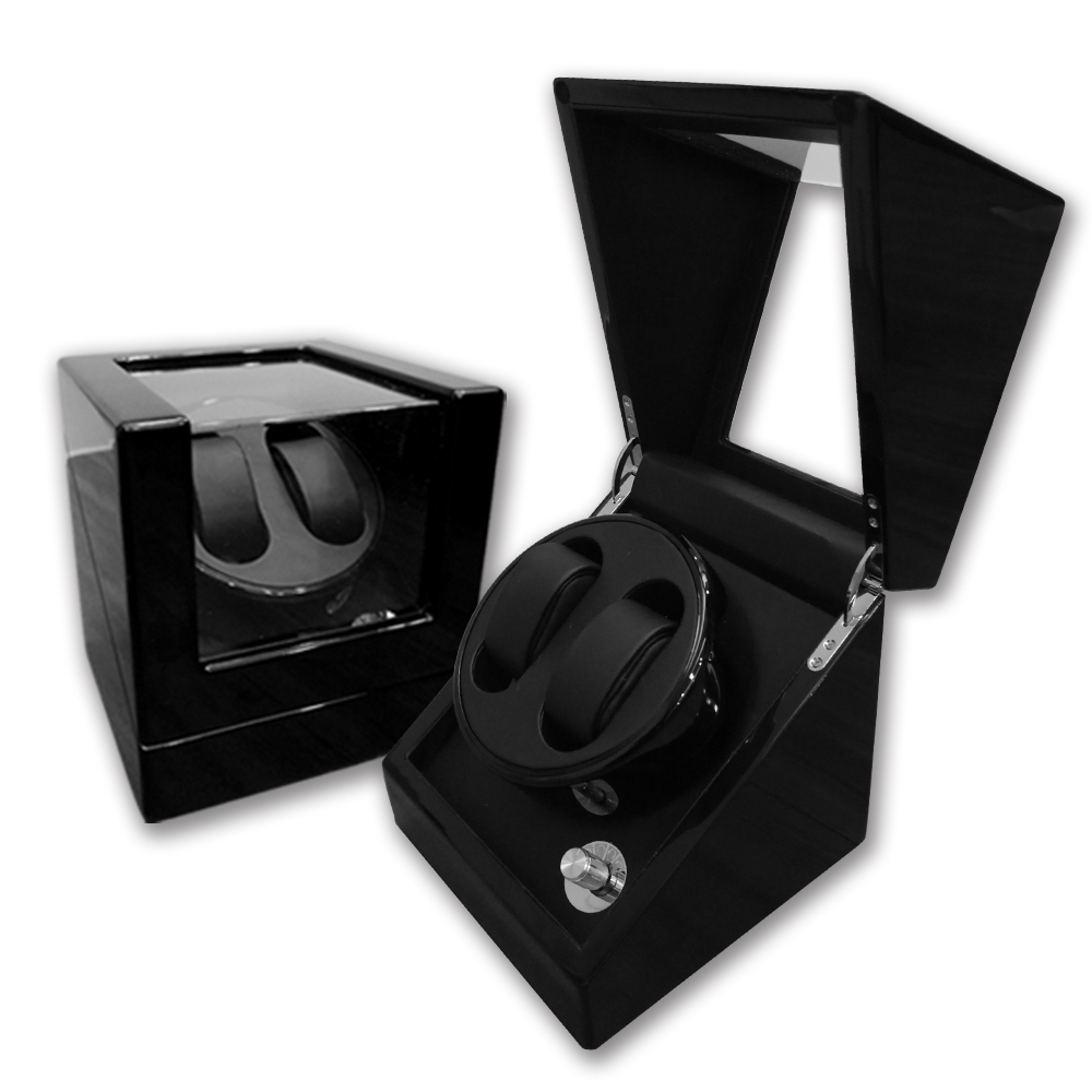 機械錶自動上鍊盒 1旋2入錶座轉動 鋼琴烤漆-黑色