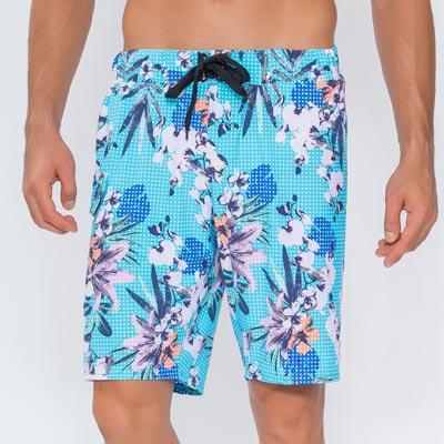 澳洲Sunseeker泳裝男士快乾衝浪泳褲-網點印花淺藍