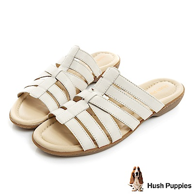 Hush Puppies DACHSHUND 舒適減壓羅馬涼拖鞋-米白