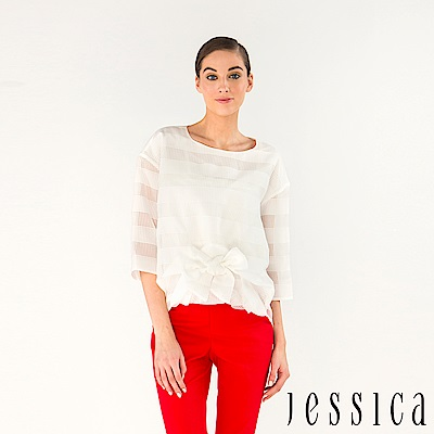 JESSICA - 輕甜女孩綁帶造型七分袖上衣(白)