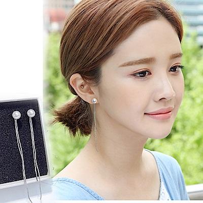 梨花HaNA 韓國S925銀針美麗迴想珍珠流蘇耳環