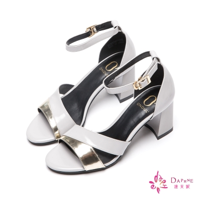 達芙妮x高圓圓-圓漾系列金屬交叉撞色粗跟涼鞋-雅緻灰