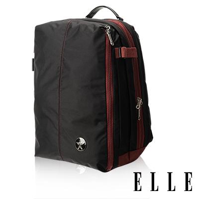 ELLE HOMME 時尚巴黎風格14吋筆電扣層休閒後背包 輕量防潑水設計款-黑