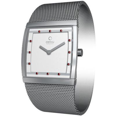 OBAKU 方型視覺晶鑽米蘭腕錶(紅鑽白/小)- 27 mm