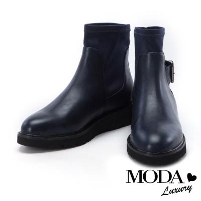短靴 MODA Luxury 超個性異材質拼接中性短靴-藍