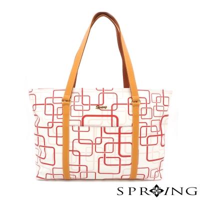 SPRING-MIT-casual-肩背托特包-紅