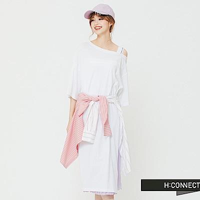H:CONNECT 韓國品牌 女裝 - 斜肩開衩單色洋裝-白