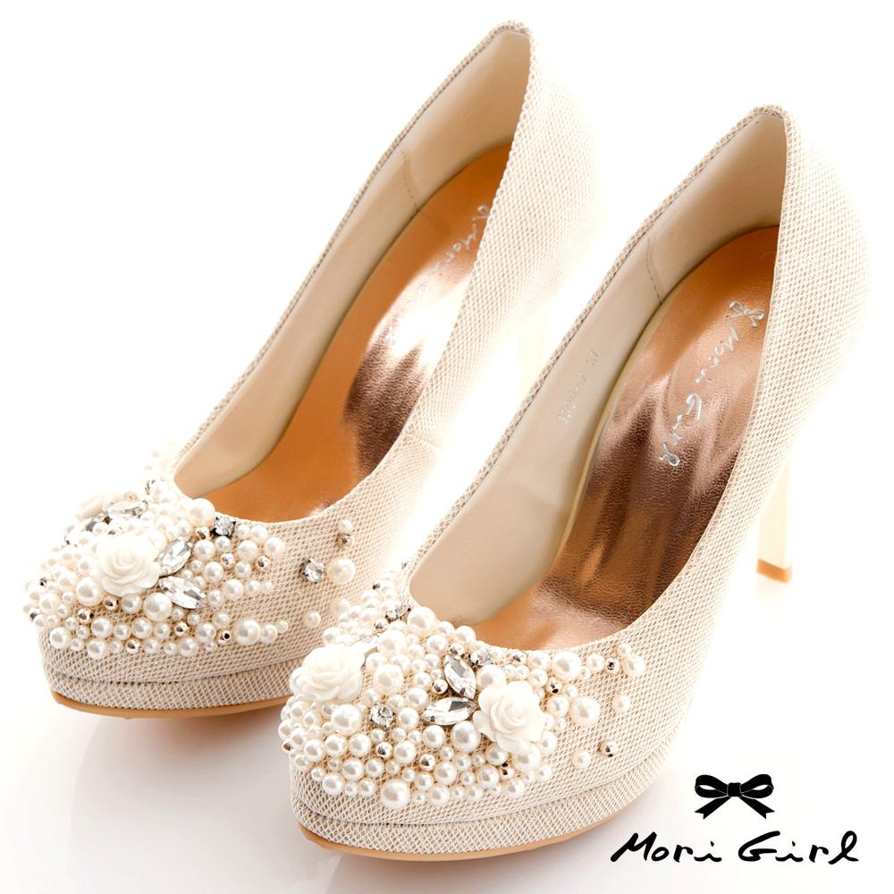 Mori girl優雅奢華-限量手工珍珠水鑽高跟婚鞋-杏