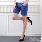 Victoria 中腰水洗男友牛仔短褲-女-深藍