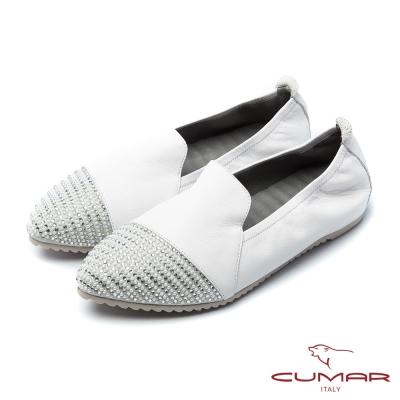 CUMAR慵懶主義鞋頭拼接異材質貼鑽樂福休閒鞋白