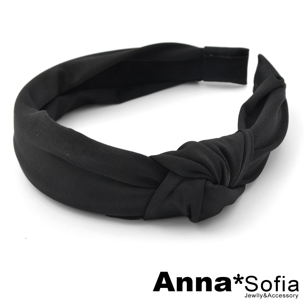 【滿額再7折】AnnaSofia 側單結光感牛奶絲 韓式寬髮箍(酷黑系)