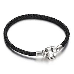 SOUFEEL索菲爾 925純銀珠飾 牛皮手鍊 迷情黑