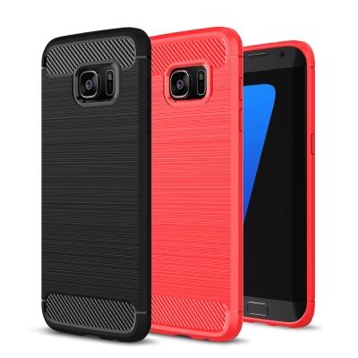 揚邑 Samsung S7 edge 5.5吋 碳纖維拉絲紋軟殼散熱防震抗摔手機...