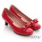 effie 氣質通勤  鏡面牛皮立體蝴蝶結飾低跟鞋 紅