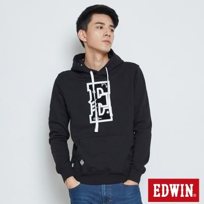 EDWIN E字植絨閃電連帽T恤-男-黑色