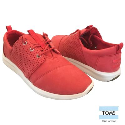 TOMS 麂皮網格休閒鞋-女款(紅)
