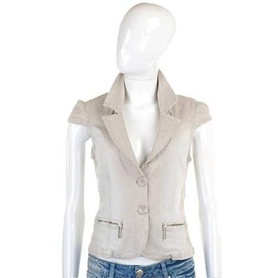 BLUGIRL-Folies 卡其色條紋雙釦小外套