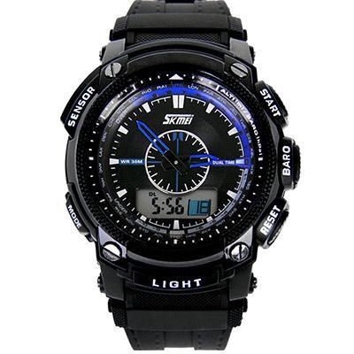 SKMEI 時刻美0910-雙機芯多功能防震防水電子錶 (3色任選)