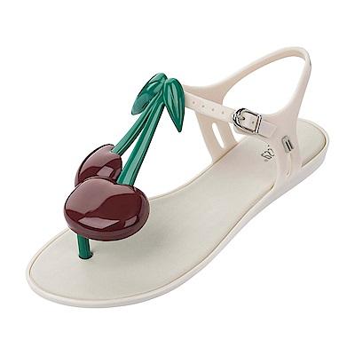 Melissa  果凍櫻桃平底涼鞋-米白