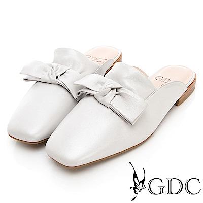 GDC-真皮大牌好搭質感蝴蝶結拖鞋-米色