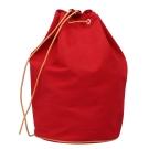 HERMES 棉質帆布牛皮飾邊抽繩側背水桶包(紅色_展示品)