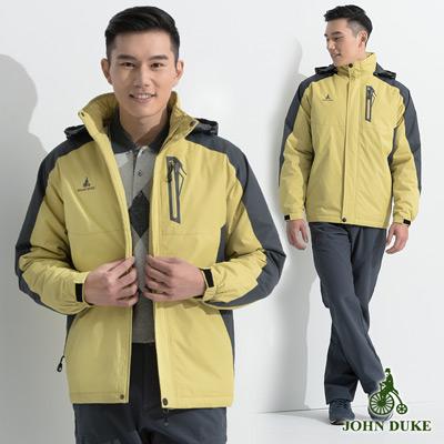 JOHN DUKE 時尚戶外休閒連帽防風外套_黃色(32-6K2255)