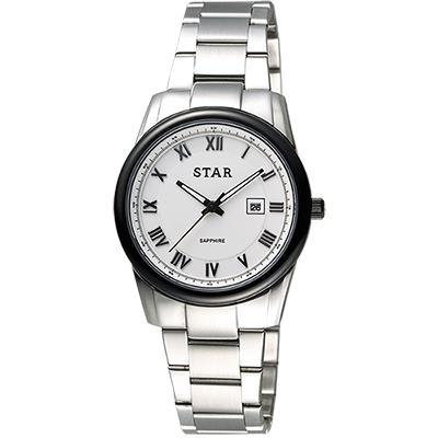 STAR 時代 羅馬風情時尚女錶-白x黑框/ 32 mm