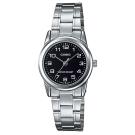 CASIO 經典復古時尚簡約巧小指針腕錶-黑色(LTP-V001D-1B)/25mm