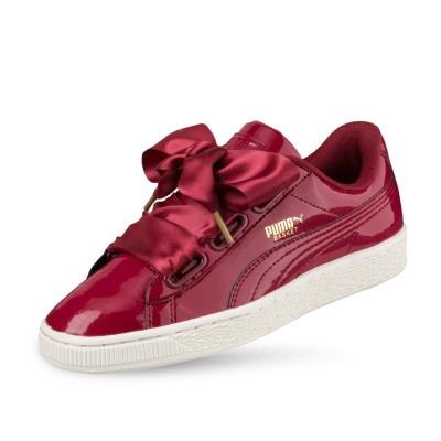 PUMA-BasketHeartPatentWns女性復古籃球運動鞋-西藏紅