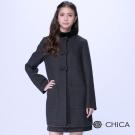 CHICA 輕甜女孩立體蝴蝶結裝飾長版大衣(2色)