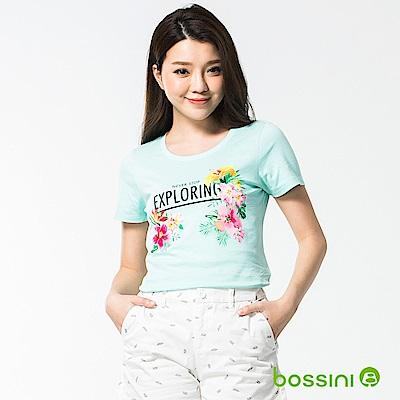 bossini女裝-印花短袖T恤39藍綠
