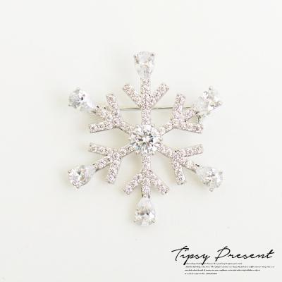 微醺禮物 胸針 頂級鋯石 鍍白金 晶鑽雪花 胸針