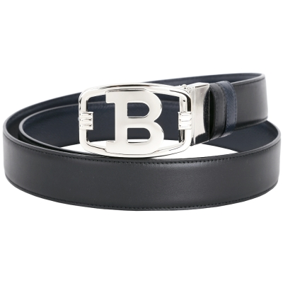 BALLY BLINN B銀釦雙面用牛皮腰帶(黑x深藍)