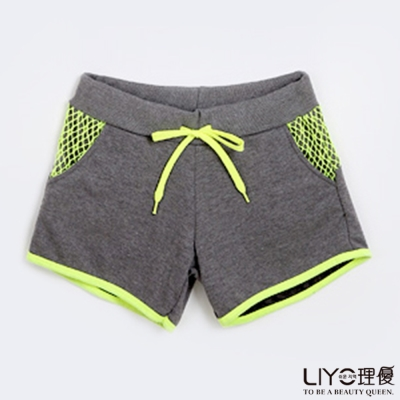 LIYO理優運動菱格網撞色短褲(灰色)