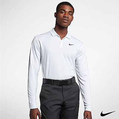 NikeGolf男 長袖翻領運動上衣 白 891235-100