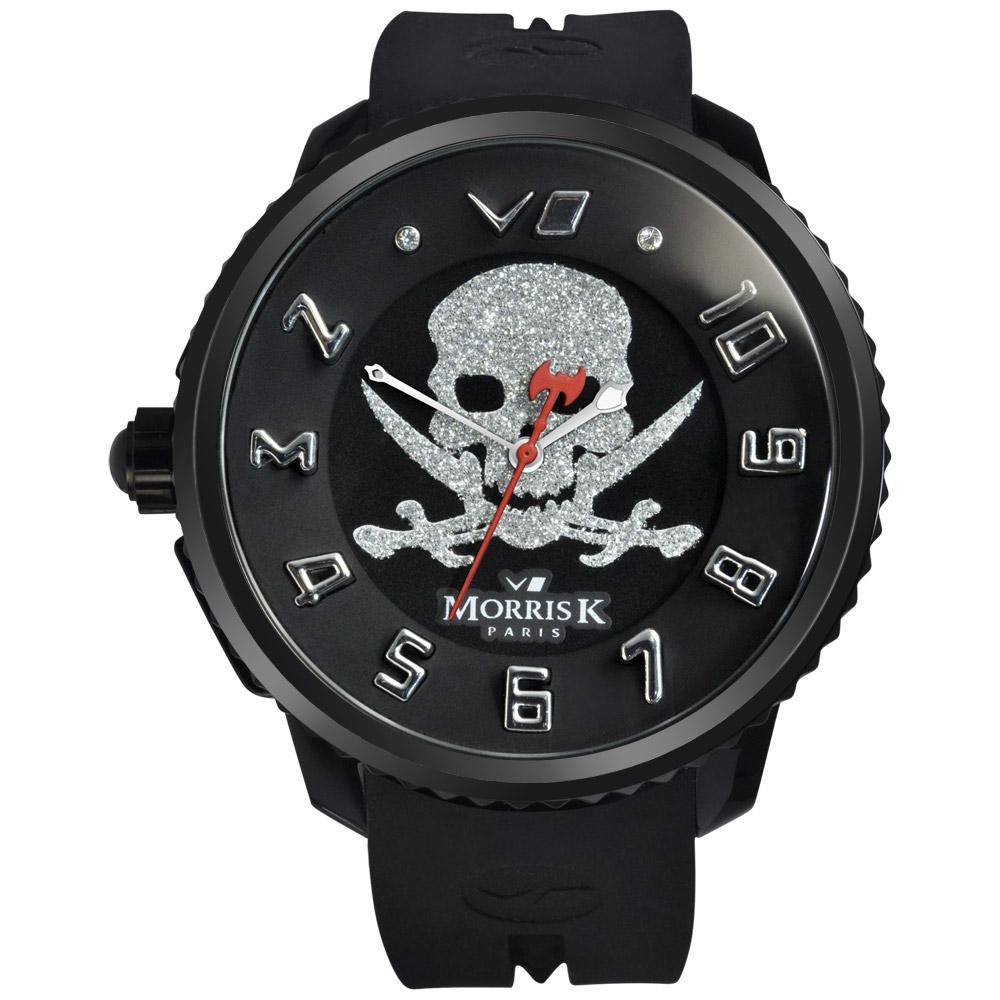 MORRIS K 反轉世界潮流腕錶-黑x銀/50mm