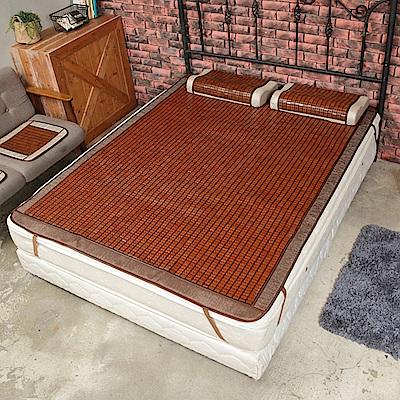 格藍傢飾 驅蚊冰涼絲麻將竹兩面雙人床蓆(一蓆三用)