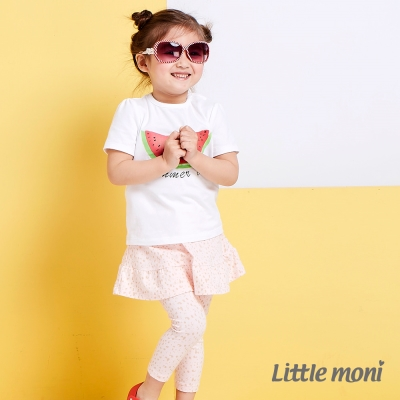 Little moni 甜美假兩件荷葉裙合身褲 印花