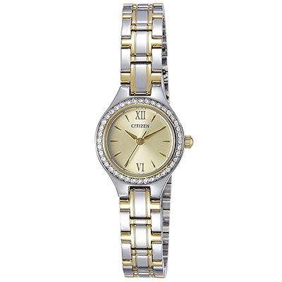 CITIZEN 施華洛世奇錶圈羅馬刻度女仕手錶(EJ6094-52P)-香檳金/22mm