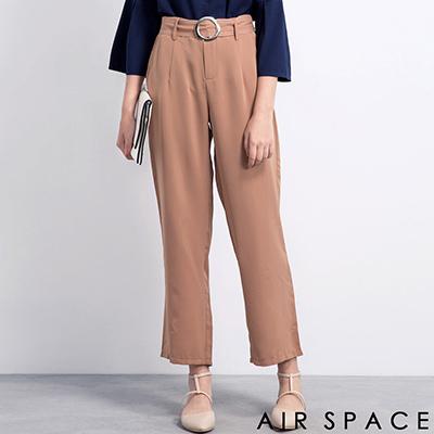AIR-SPACE-圓框車線雪紡西裝寬褲-駝